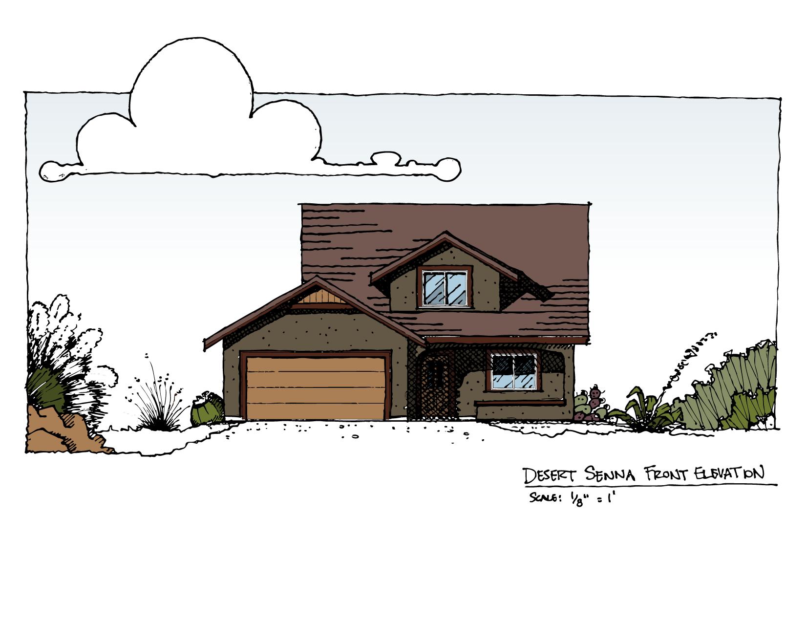Front Elevation of Desert Senna House Plan