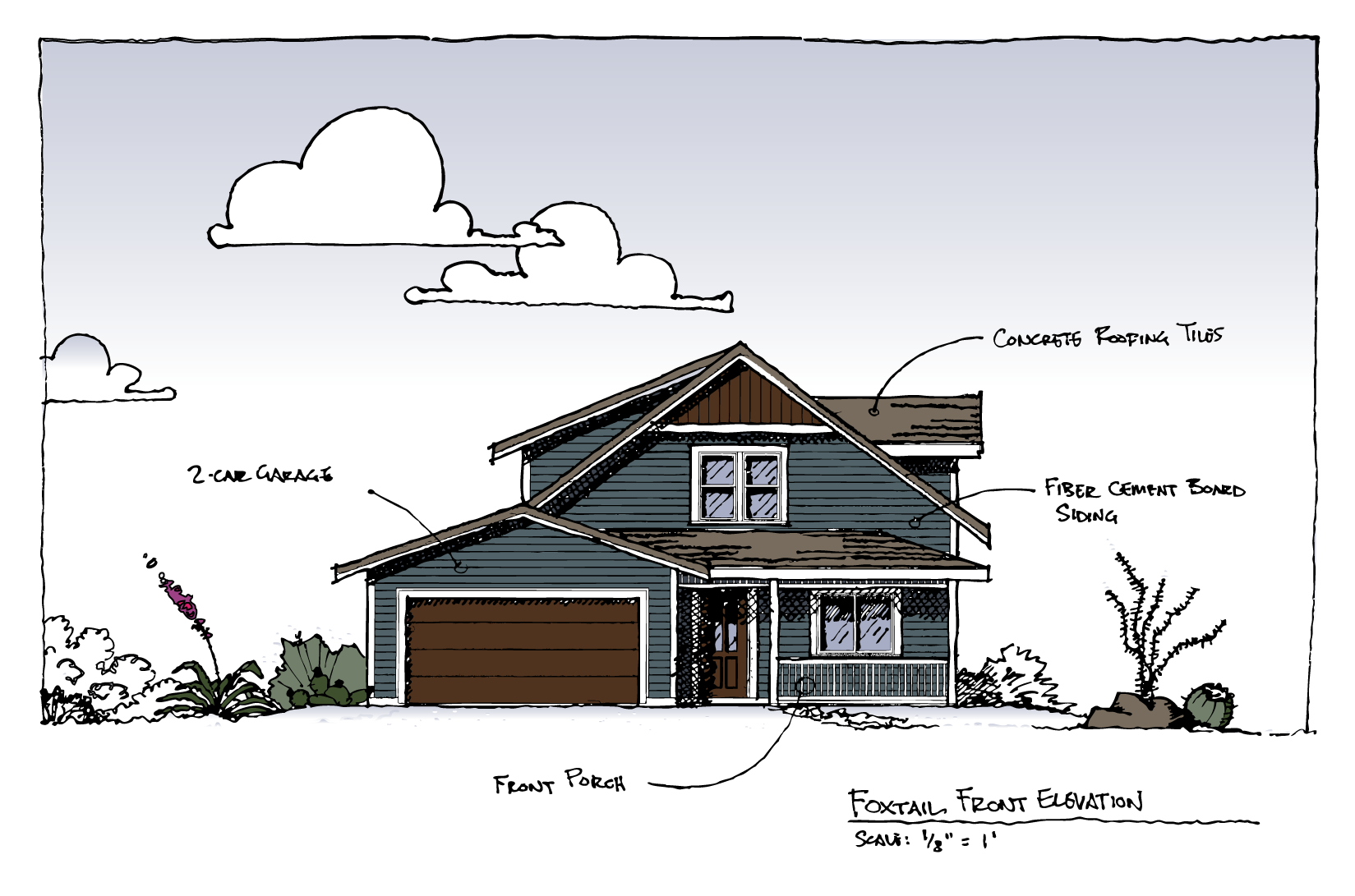 Front Elevation of Foxtail House Plan